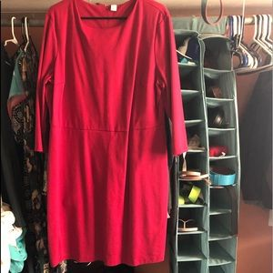 3/4 sleeve red dress